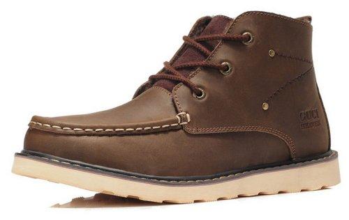 GUCIHEAVEN  533-1 疯马皮休闲鞋 加绒牛皮男鞋 真皮高帮鞋子 工装鞋 咖啡色