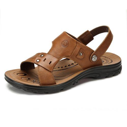 Camel 骆驼牌 夏季新款 休闲男式真皮凉鞋男士沙滩鞋 潮流正品凉鞋 W422211037