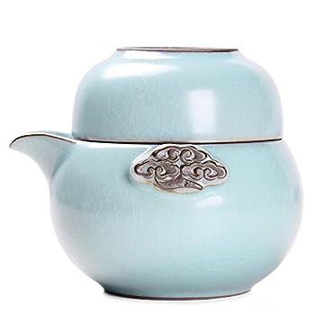 尚言坊 SDP305-2 汝窑陶瓷盖碗茶杯 旅行功夫茶具套装