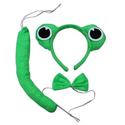 动物头饰道具动物三件套青蛙头饰头箍发卡领结尾巴青蛙三件套