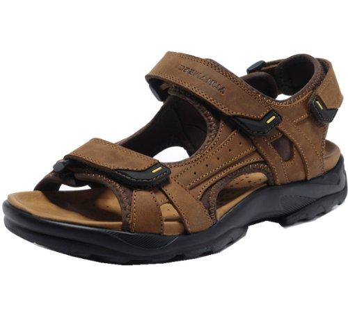 DEEWAHUA 时尚清凉款 优质磨砂 乳胶内垫 防水超纤 大气风度 防滑耐磨底 男凉鞋