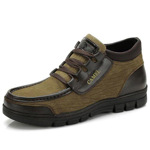 Camel 骆驼 男鞋男靴子 头层牛皮高帮靴 保暖绒毛里 棉鞋 1600053