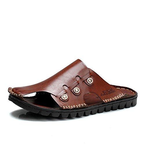 公牛世家 夏季牛皮手工拖鞋潮流透气沙滩鞋凉拖鞋子GN1888167