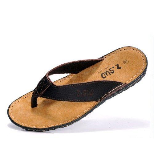 Z.SUO 走索 凉鞋拖鞋夏季凉拖鞋 夹趾男人字拖鞋真皮男 欧美沙滩拖