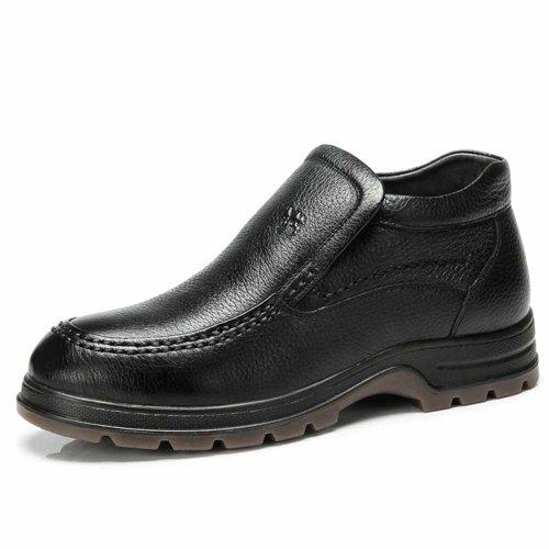 AMCAMEL 花旗骆驼 冬季保暖男靴子男棉鞋商务休闲真皮皮鞋男鞋 H2211012