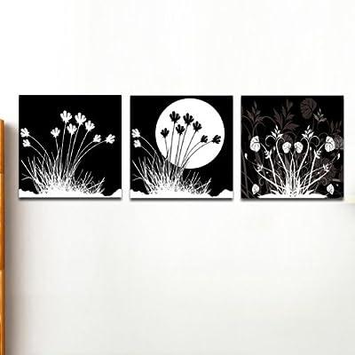 美时美刻 抽象花卉无框画简约黑白装饰画房间床头挂画
