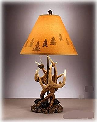 仿古单头鹿角布艺灯罩台灯
