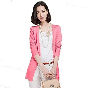2014秋季女装针织开衫中长款薄外套长袖v领