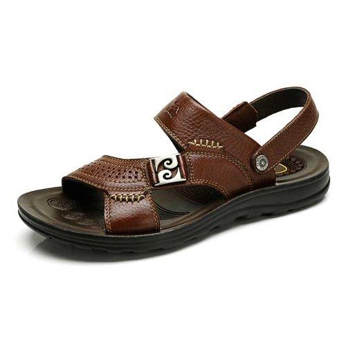 Camel 骆驼 男凉鞋 个性冲孔 按摩垫脚凉拖 男士露趾凉鞋 82203612
