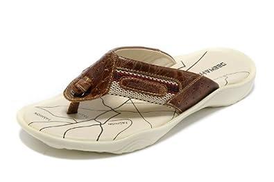 Deewahua 迪万 新款橡胶底人字拖 头层牛皮凉鞋 夏日必备凉鞋 时尚人字拖 男士沙滩鞋 男鞋