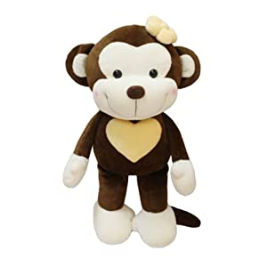 澳捷尔可爱笑脸猴子公仔毛绒玩具男女猴布娃娃 (桃心款)