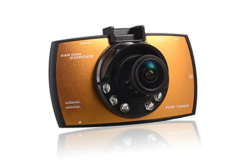 Ecustomers 车博士 V780 行车记录仪 夜视高清170度超广角 最新升级1800万像素,1080P视频分辨率  循环录像 移动侦测 行车记录仪 台湾最新技术超强夜视  24小时停车监控 (32GB内存, 外贸版金色)-图片