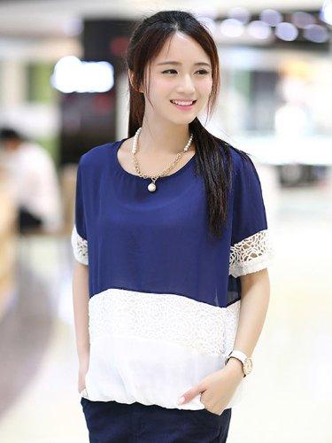 赫薇 2014夏装新款女装韩版宽松显瘦短袖雪纺衫女夏打底衫T恤潮 GDN612801