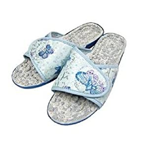 cantos 利快韩国进口发泡卵石花纹按摩拖鞋(蓝色) (40