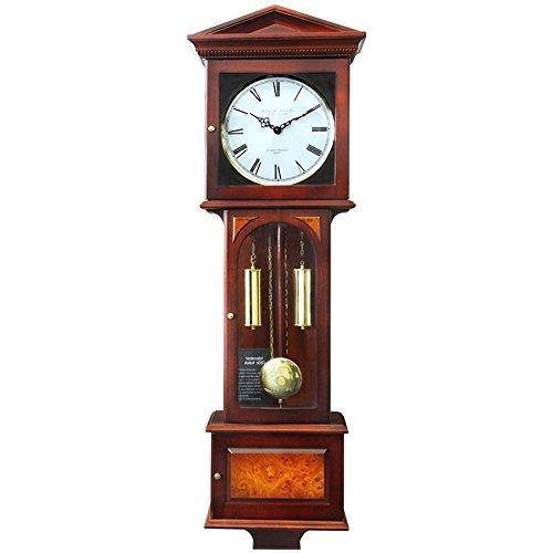 hense汉时钟表 挂钟欧式复古整点打铃客厅创意实木机械摆钟hp34 红木