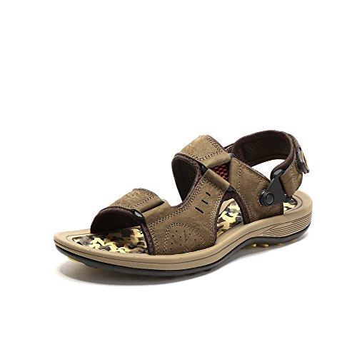 Camel 骆驼 户外男款沙滩凉鞋 2015夏季新款魔术贴头层牛皮透气凉鞋