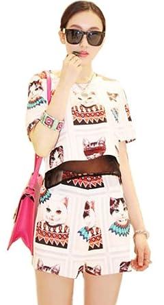 b00j86v7hc 产地: 广东 商品描述         欧美街头猫咪短袖修身套装