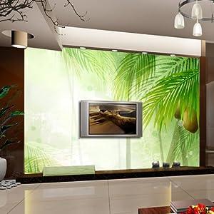 塞拉维 绿色风景 背景墙壁画 客厅 电视背景墙 卧室床头无缝壁画壁布