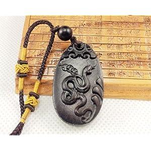 开光黑桃木生肖蛇项链钥匙扣饰品