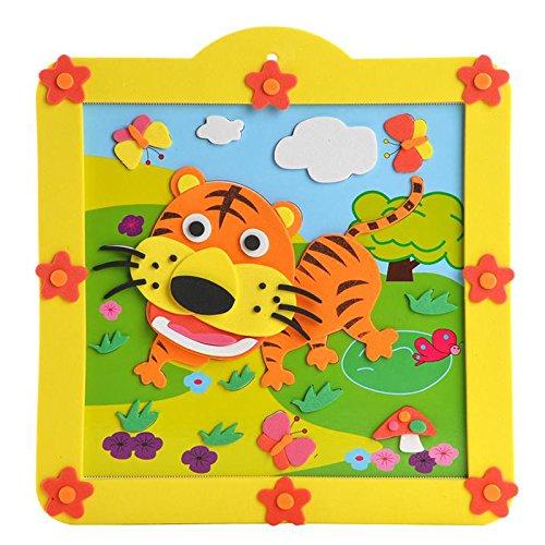 孩派eva儿童贴画手工制作方形圆形相框贴画材料包 12款小相框 (05老虎