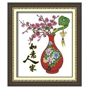 华庭丽娜 印花十字绣 如意人家 精准印花不偏格 100 印布手工绣 时尚艺