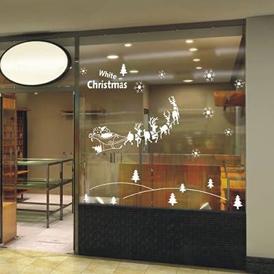 一代墙贴 圣诞雪地 可移除墙贴纸定做节日布置橱窗花门贴窗贴雪花雪景