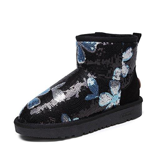 Acesc 艾斯臣 2015冬季新款雪地靴 女 亮片短筒靴加绒平底套脚拼色女靴