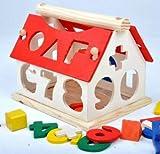 优贝乐 木制玩具房子 早教玩具 形状认知数字屋 木制玩具 智力玩具-图片