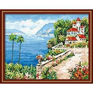佳彩天颜 diy数字油画 客厅风景城堡手绘装饰画 蔷薇岛屿 蔷薇岛屿 40