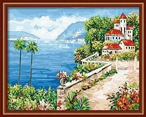 彩风景画简单_客厅风景城堡手绘装饰画