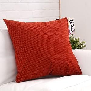 色格格 时尚素色抱枕靠垫 沙发靠枕 床上靠背 砖红色 含芯 大号抱枕