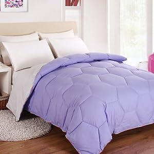 Esspresso 爱思巴苏家纺 超柔压花面料炫彩羽丝绒被 蜂巢保暖被子 紫色vs银色 (150*2