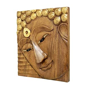 爱居品 泰国手工艺品 木质雕花 原木佛像挂板 挂饰 家居装饰送礼 带钩