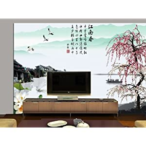 塞拉维 江南山水风景壁画 客厅电视背景墙大型壁画 现代中式装修壁纸