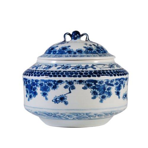 回至 长物居 手绘青花雏菊图茶叶罐盖罐 景德镇纯手工瓷器茶具用品