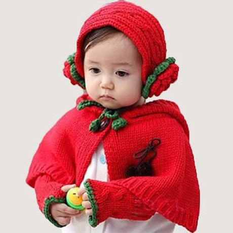 玲饰界 男 女 连帽披风 斗蓬手套护耳发饰三件套 儿童套帽 婴儿帽 红色儿童帽 新品-图片