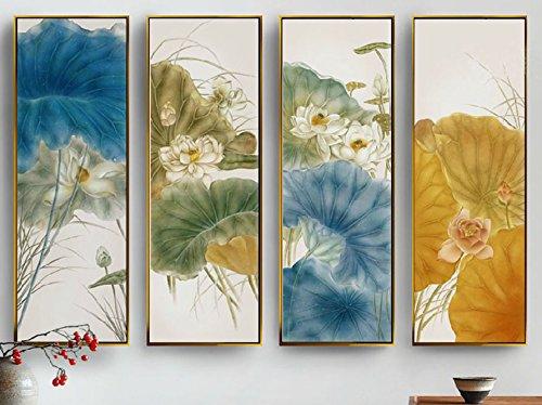 戈雅goya,手绘油画《荷花组歌》挂画,木框组合油画,最