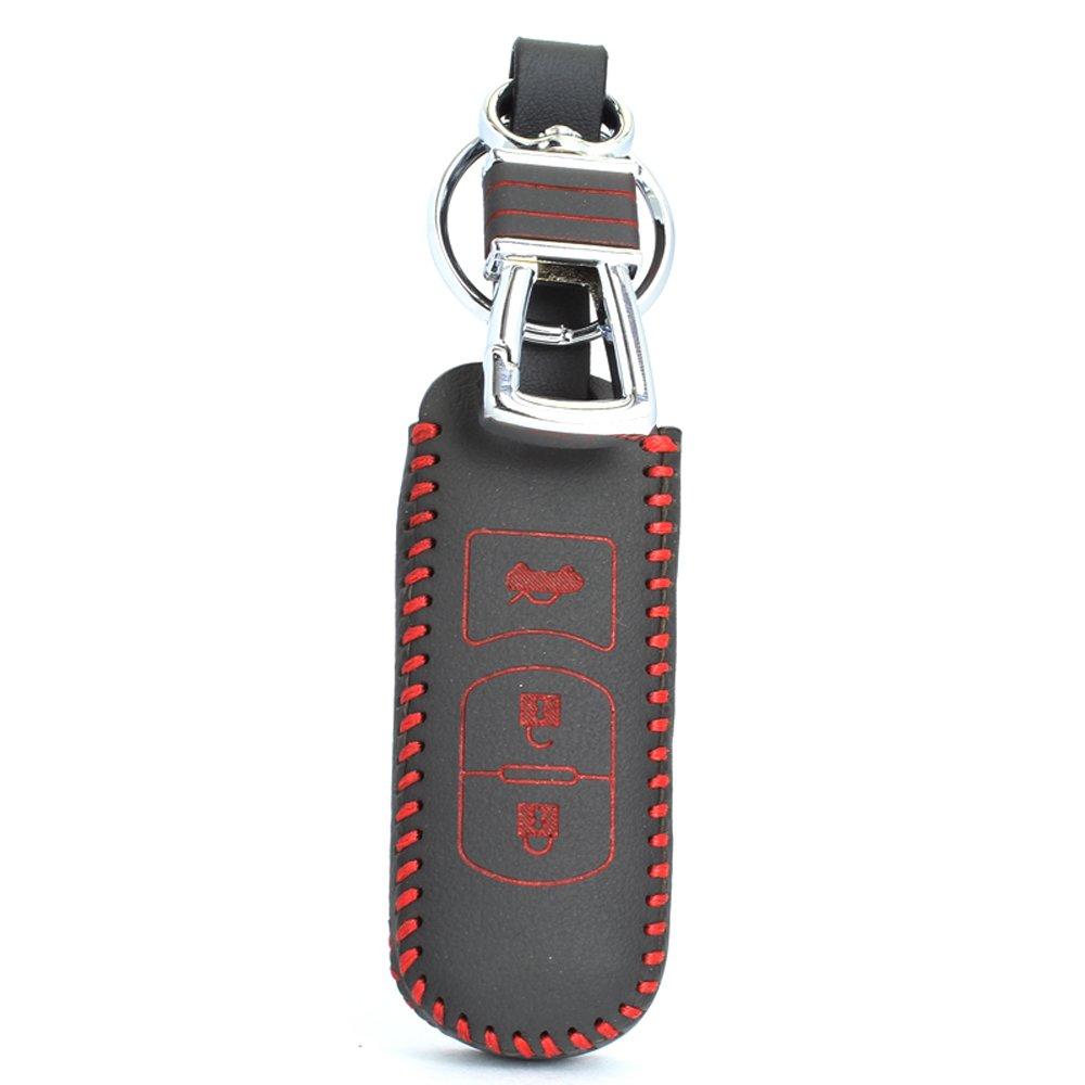 佑易 马自达3昂克赛拉专用遥控器皮套 马6阿特兹钥匙包钥匙套 (红线单
