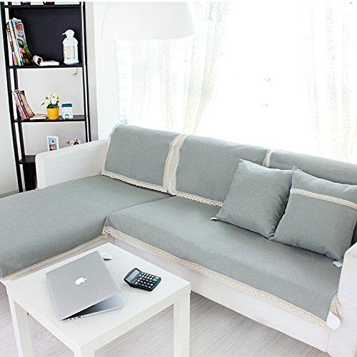 仕沙发垫夏凉垫布艺全棉麻欧式四季高档防滑纯色沙发套罩巾春 (蓝灰色