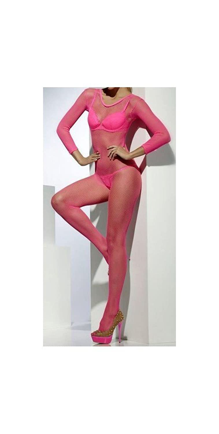 Fever Women's Fishnet Body Stocking Crotchless In Display Box, Pink, One Size 【Fever】 服饰箱包-海外购 美亚直邮