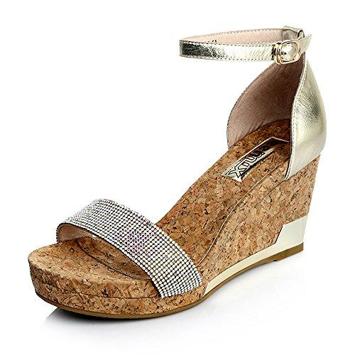 Teenmix 天美意 天美意夏季羊皮闪钻坡跟女凉鞋 20-16BL5