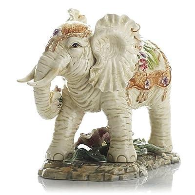 陶瓷百合大象招财象工艺品东南亚风格风水摆件动物