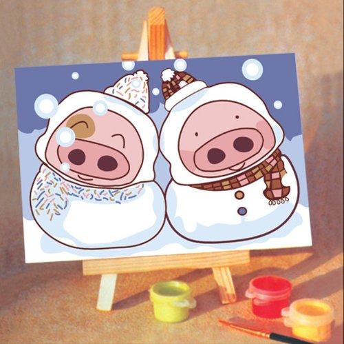 回至treatim 车田 diy数字油画 可爱卡通 麦兜猪猪 手绘油画手绘油画
