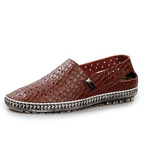 夏季透气凉鞋 真皮皮凉鞋 男士镂空打孔凉皮鞋 洞洞鞋男