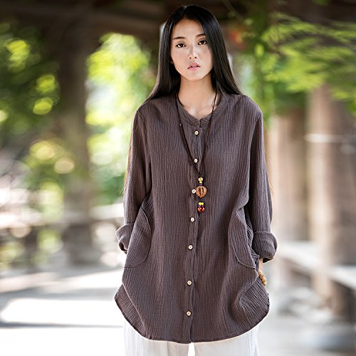 西征客 2016春季新款女装 柔软舒适双层棉麻外套 女式长袖卫衣2160 (均码, 深咖啡)