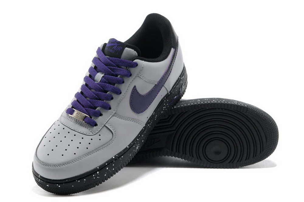 nike 耐克耐克男女空军一号 休闲鞋板鞋运动鞋 77-87灰紫喷(45)