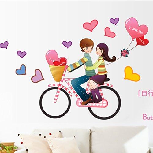 千韵 浪漫卧室客厅电视墙背景装饰卡通单车情侣创意可