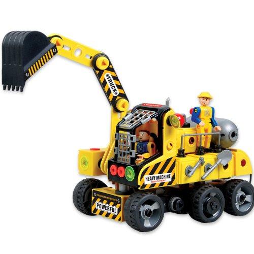 电动工程车挖土机大型挖掘机积木儿童