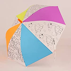 rain益智diy彩绘画手开不伤手防雨防紫外线儿童伞适合2-8岁 (小动物