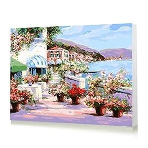 自油自画 diy数字油画特价客厅风景情侣结婚手绘装饰壁画 星空 50x70